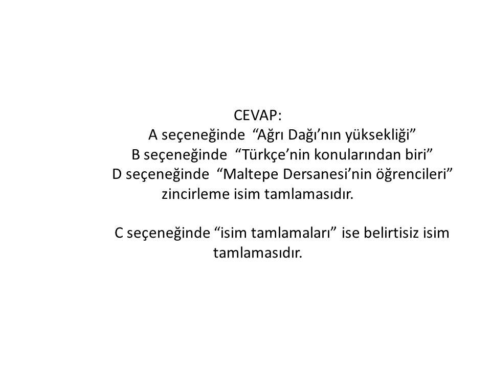 CEVAP:. A seçeneğinde Ağrı Dağı'nın yüksekliği