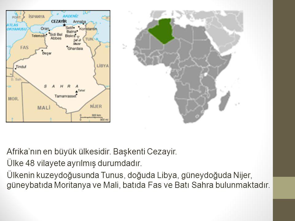 Afrika'nın en büyük ülkesidir. Başkenti Cezayir