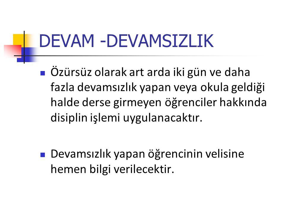 DEVAM -DEVAMSIZLIK