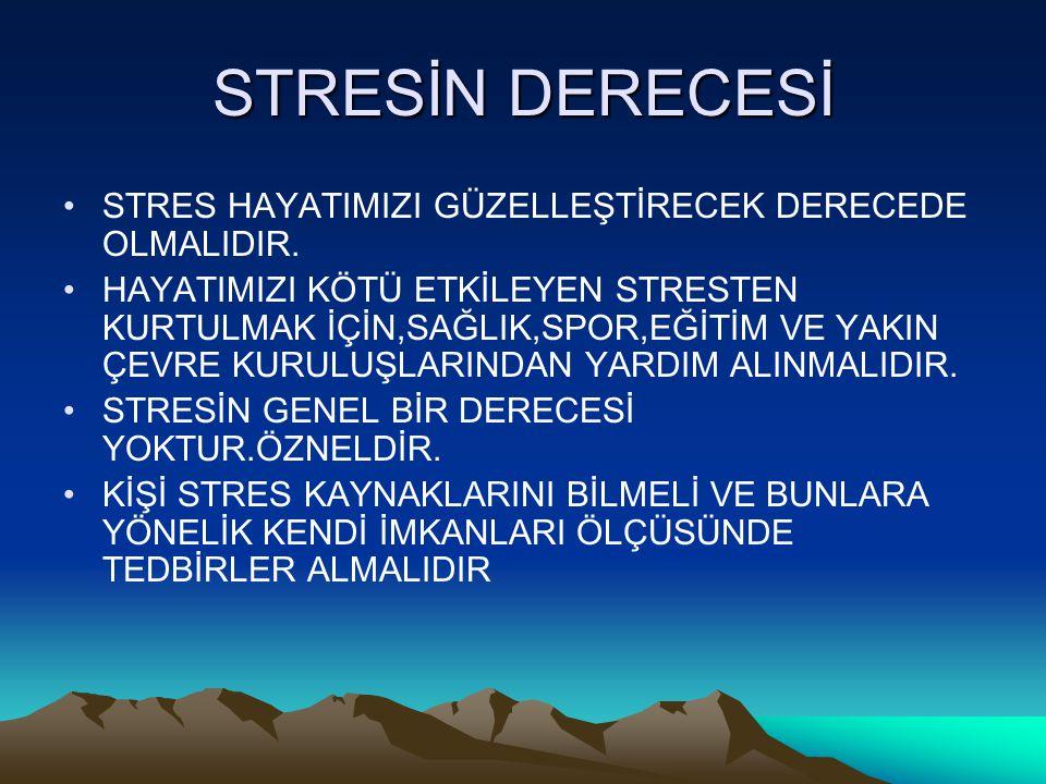 STRESİN DERECESİ STRES HAYATIMIZI GÜZELLEŞTİRECEK DERECEDE OLMALIDIR.