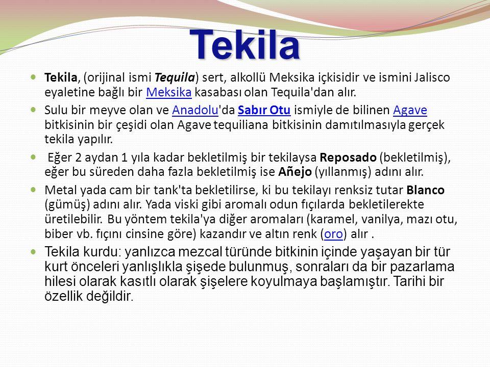 Tekila Tekila, (orijinal ismi Tequila) sert, alkollü Meksika içkisidir ve ismini Jalisco eyaletine bağlı bir Meksika kasabası olan Tequila dan alır.