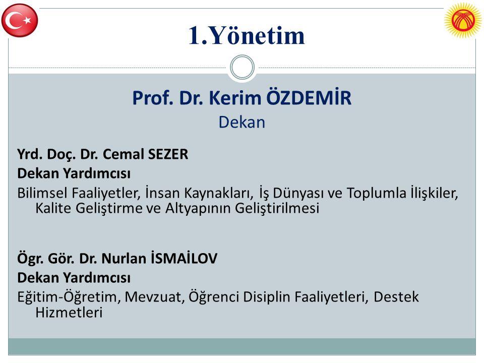 1.Yönetim Prof. Dr. Kerim ÖZDEMİR Dekan Yrd. Doç. Dr. Cemal SEZER