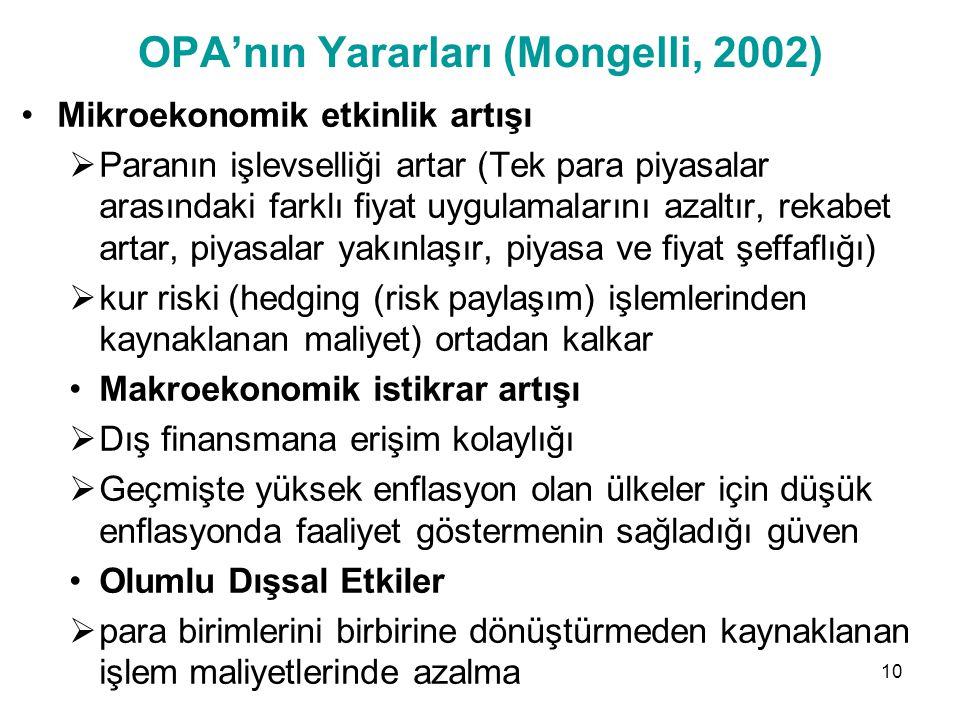 OPA'nın Yararları (Mongelli, 2002)