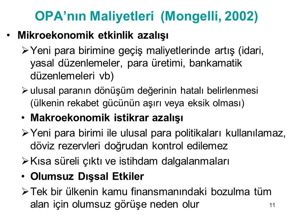 OPA'nın Maliyetleri (Mongelli, 2002)