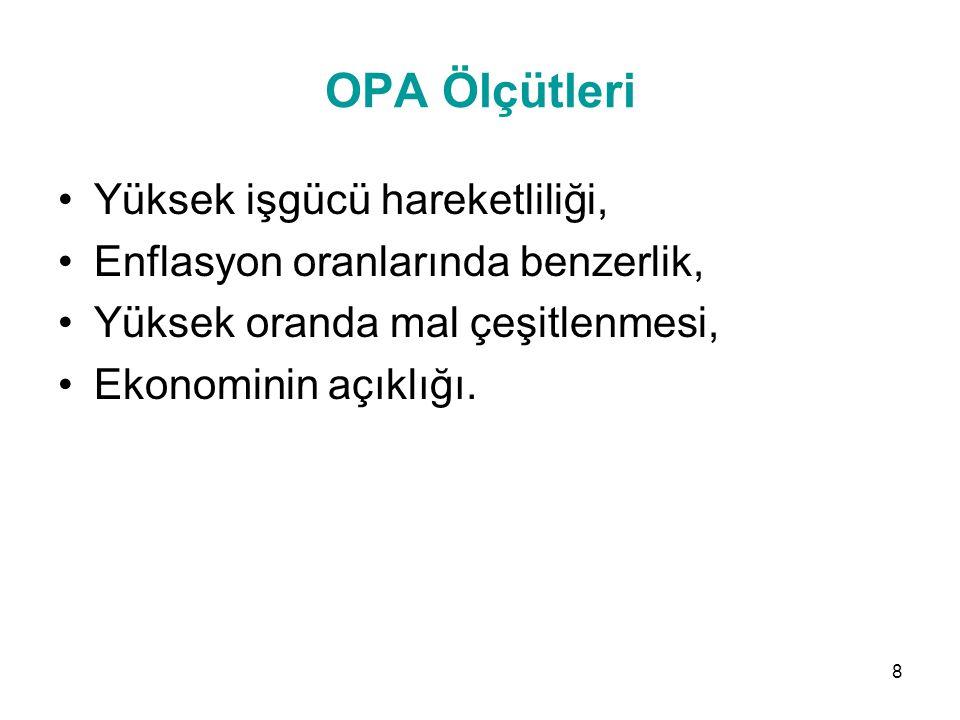 OPA Ölçütleri Yüksek işgücü hareketliliği,