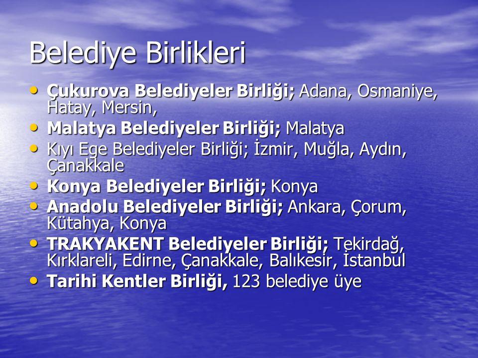 Belediye Birlikleri Çukurova Belediyeler Birliği; Adana, Osmaniye, Hatay, Mersin, Malatya Belediyeler Birliği; Malatya.
