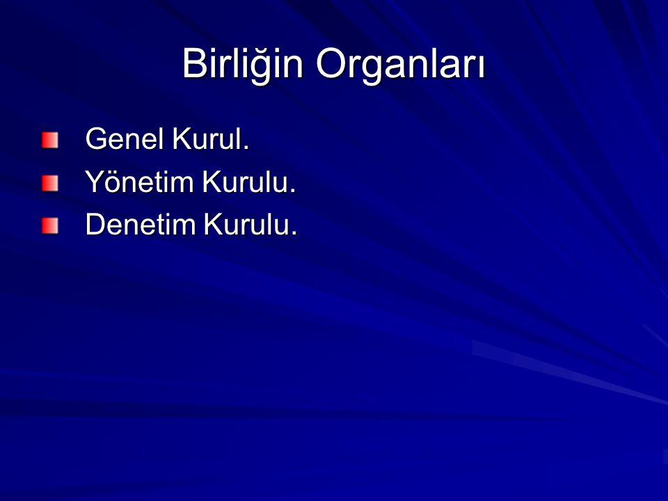 Birliğin Organları Genel Kurul. Yönetim Kurulu. Denetim Kurulu.