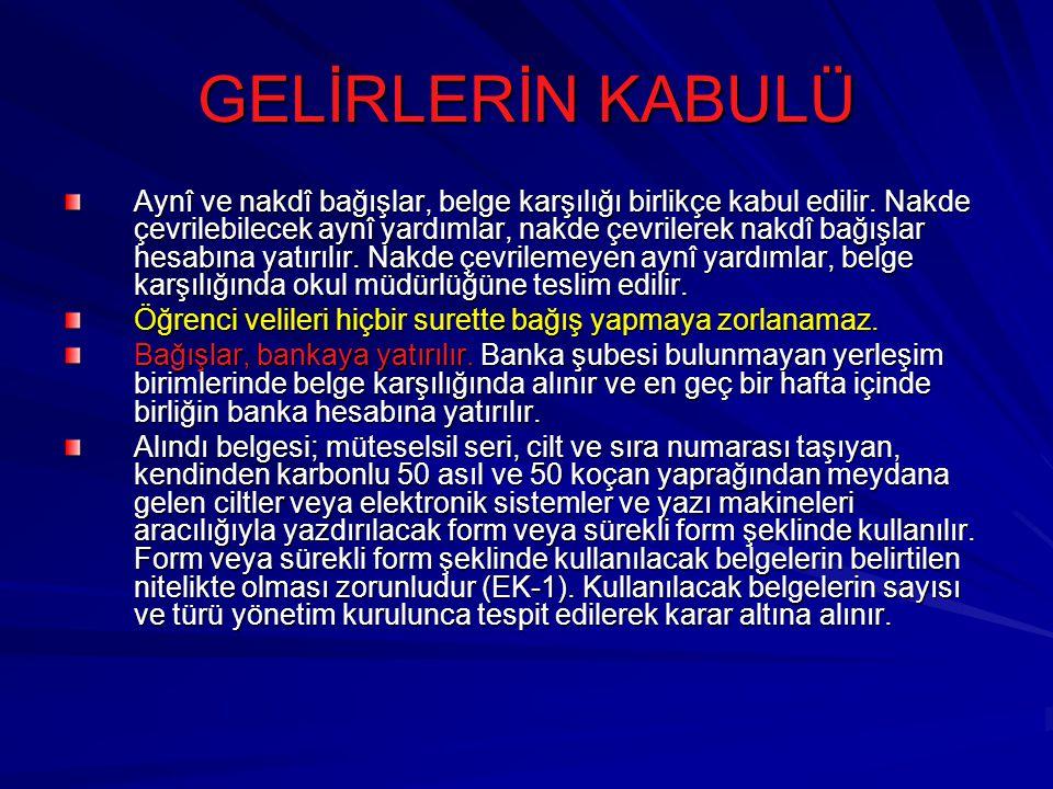 GELİRLERİN KABULÜ