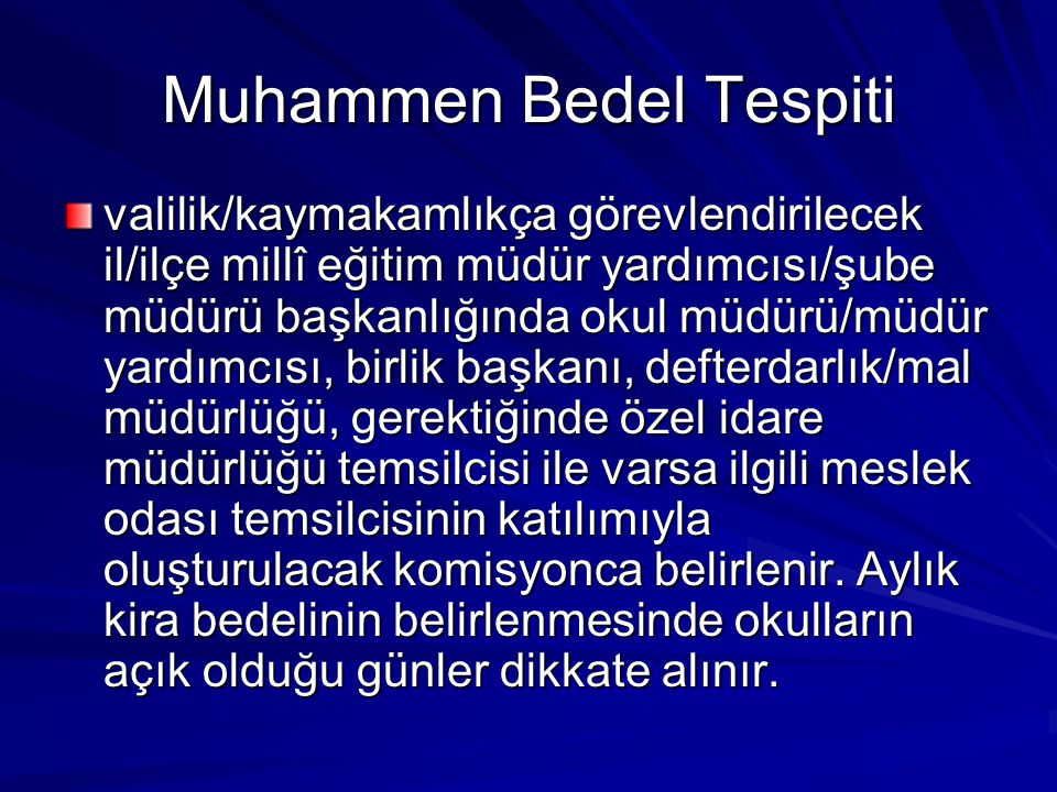 Muhammen Bedel Tespiti