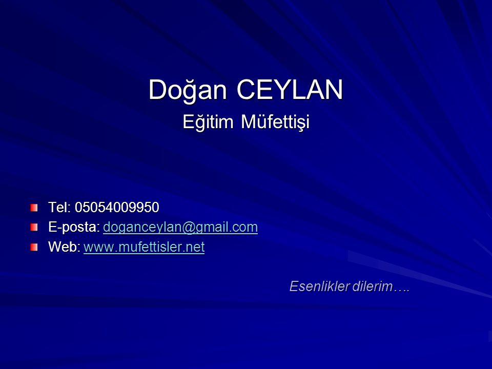 Doğan CEYLAN Eğitim Müfettişi Tel: 05054009950