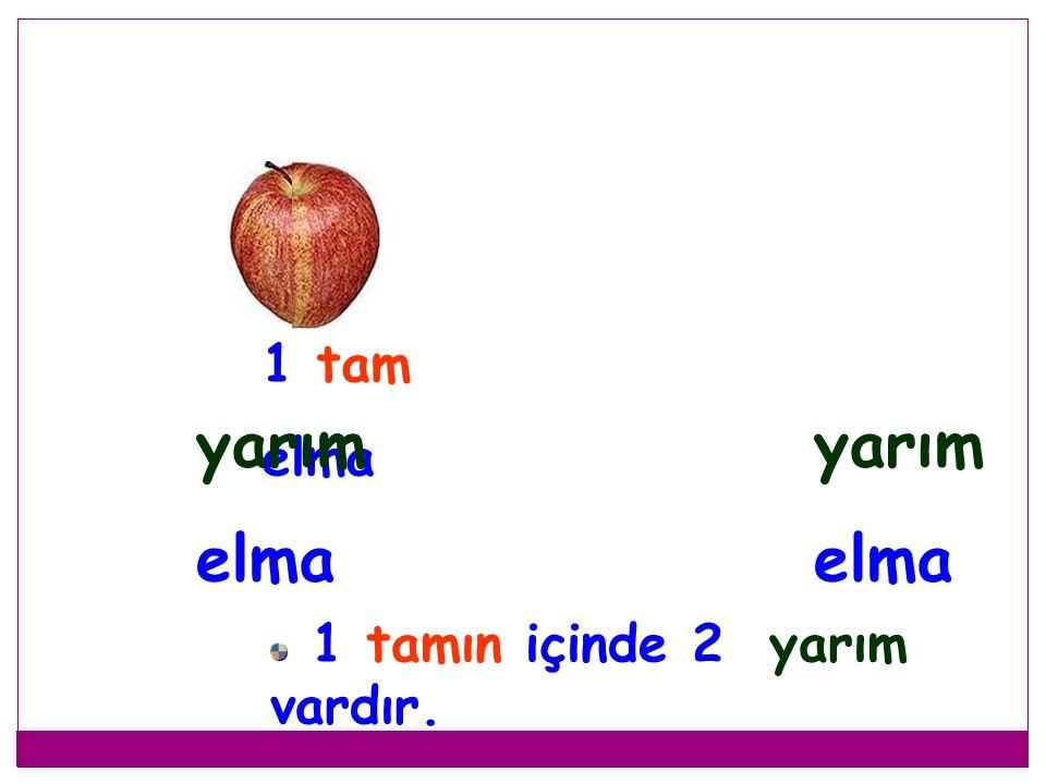 1 tam elma yarım elma yarım elma 1 tamın içinde 2 yarım vardır.