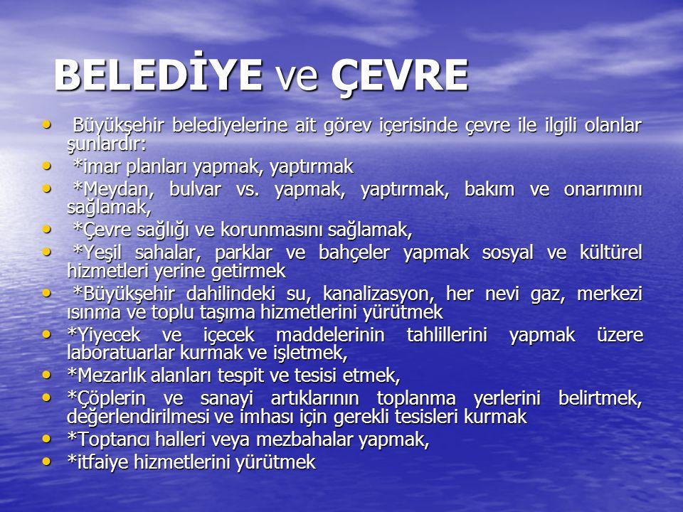 BELEDİYE ve ÇEVRE Büyükşehir belediyelerine ait görev içerisinde çevre ile ilgili olanlar şunlardır: