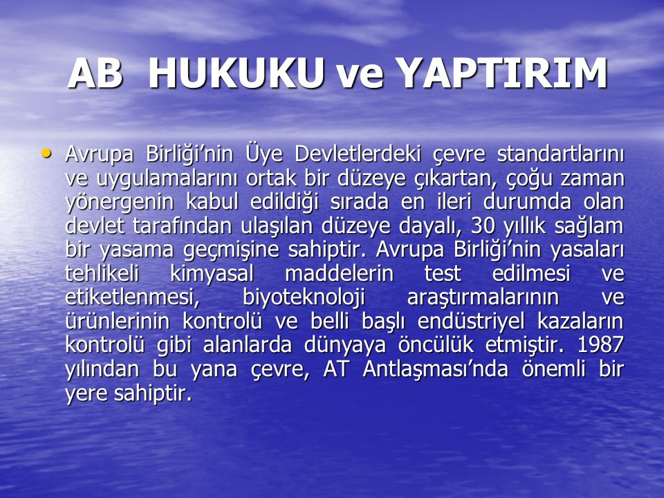 AB HUKUKU ve YAPTIRIM