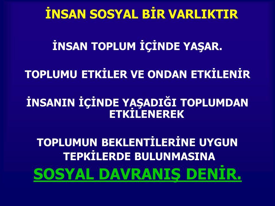 İNSAN SOSYAL BİR VARLIKTIR