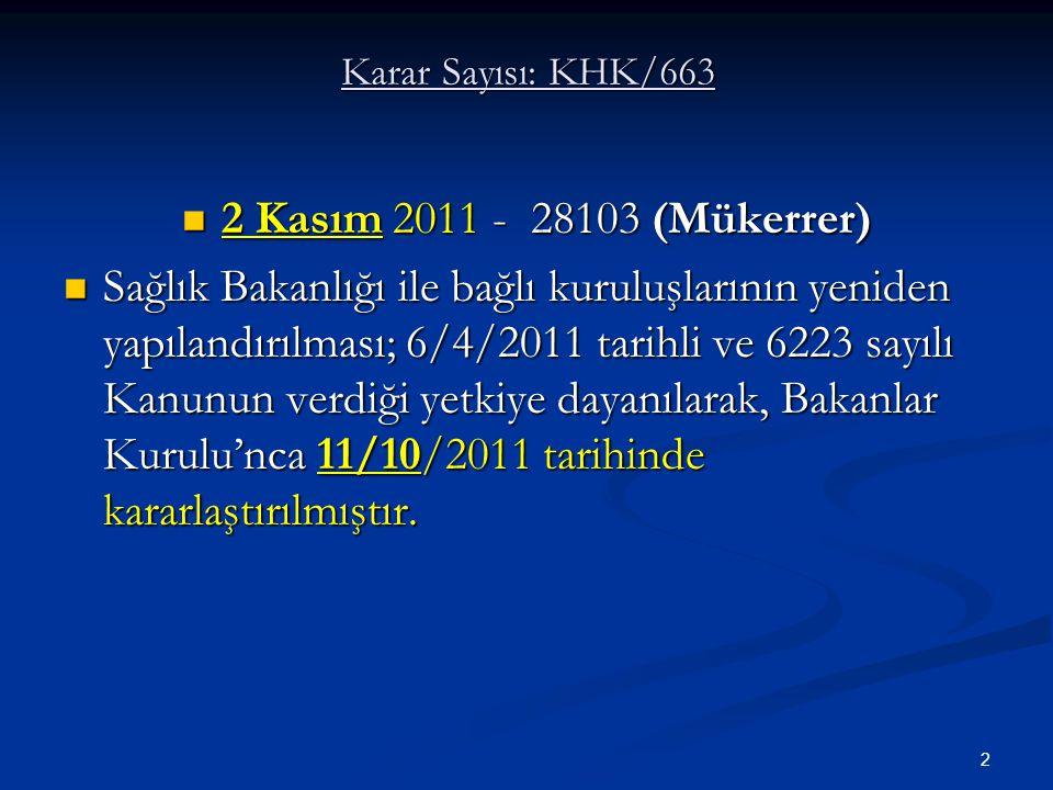 Karar Sayısı: KHK/663 2 Kasım 2011 - 28103 (Mükerrer)