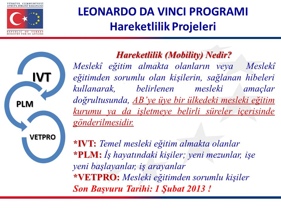 IVT LEONARDO DA VINCI PROGRAMI Hareketlilik Projeleri PLM
