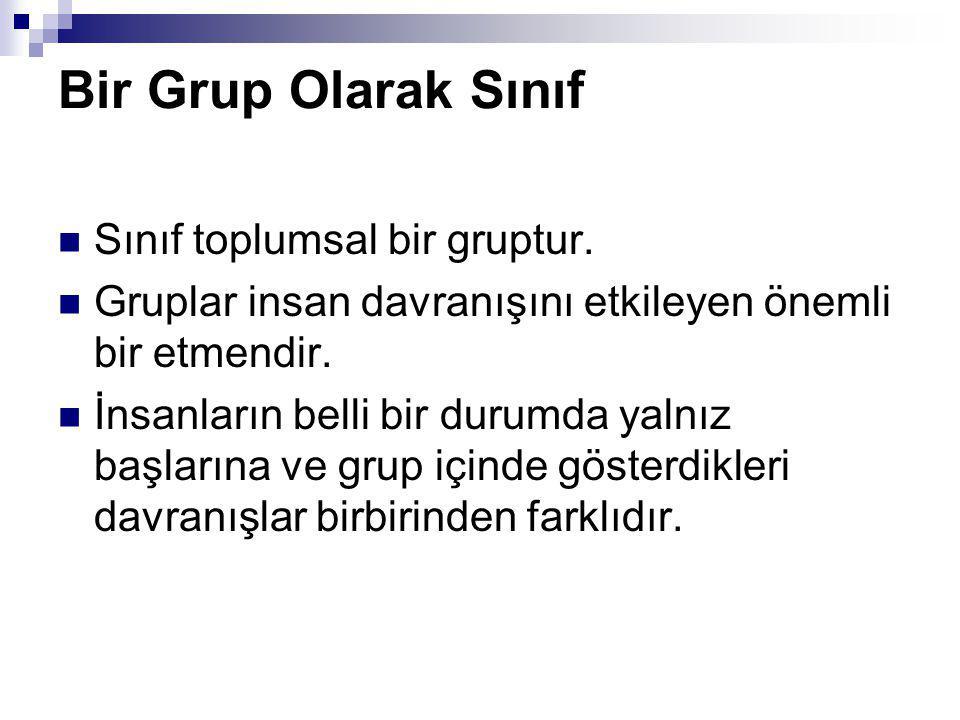 Bir Grup Olarak Sınıf Sınıf toplumsal bir gruptur.