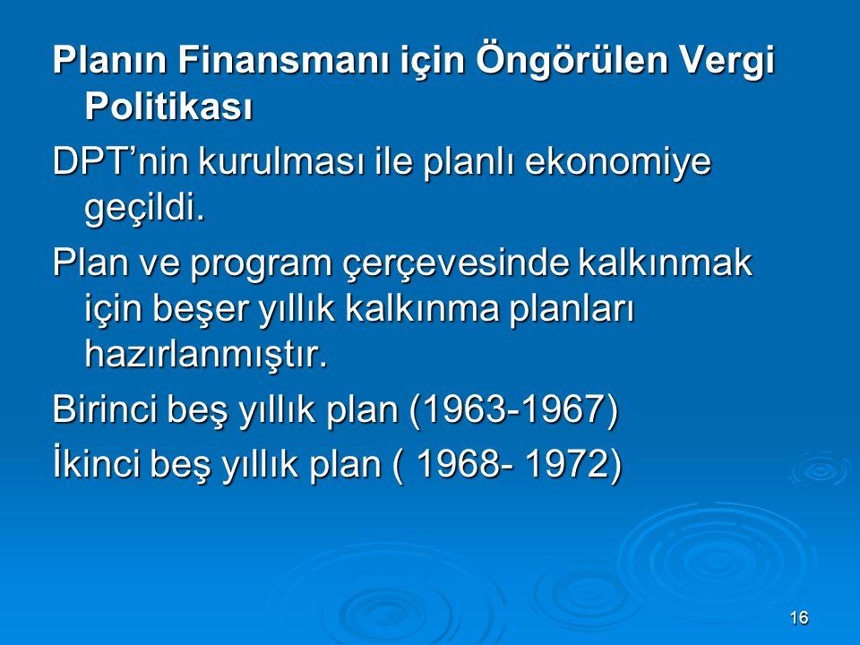 Planın Finansmanı için Öngörülen Vergi Politikası