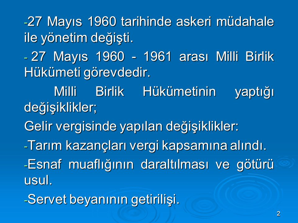 27 Mayıs 1960 tarihinde askeri müdahale ile yönetim değişti.