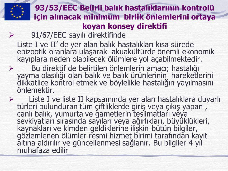 91/67/EEC sayılı direktifinde