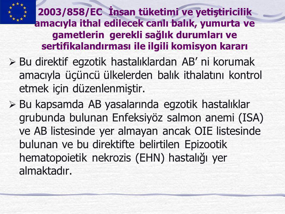 2003/858/EC İnsan tüketimi ve yetiştiricilik amacıyla ithal edilecek canlı balık, yumurta ve gametlerin gerekli sağlık durumları ve sertifikalandırması ile ilgili komisyon kararı