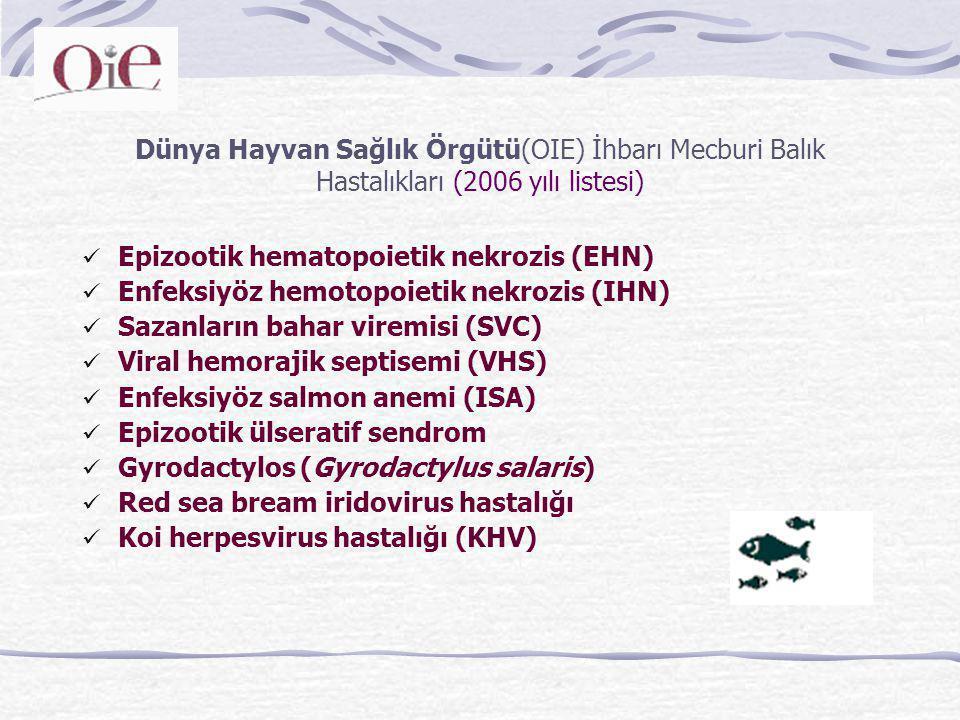 Dünya Hayvan Sağlık Örgütü(OIE) İhbarı Mecburi Balık Hastalıkları (2006 yılı listesi)