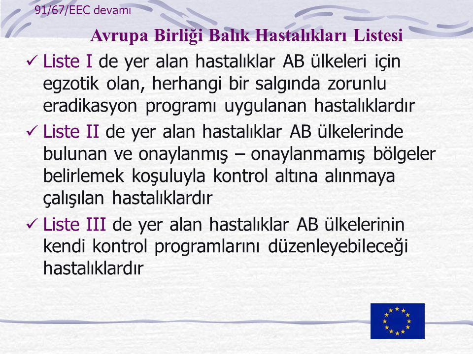 Avrupa Birliği Balık Hastalıkları Listesi