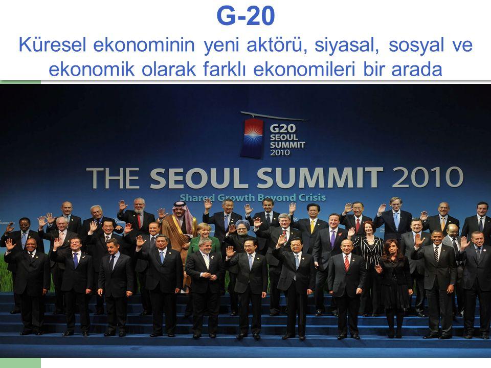 G-20 Küresel ekonominin yeni aktörü, siyasal, sosyal ve ekonomik olarak farklı ekonomileri bir arada.