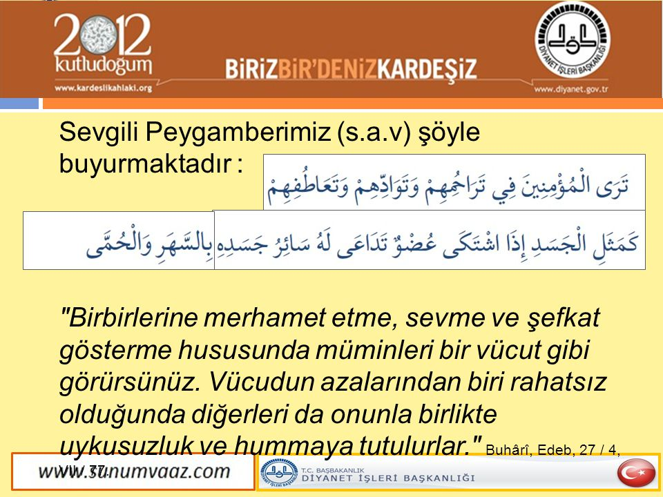 Sevgili Peygamberimiz (s.a.v) şöyle buyurmaktadır :