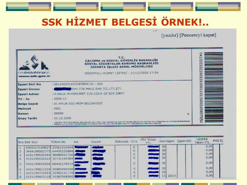 SSK HİZMET BELGESİ ÖRNEK!..