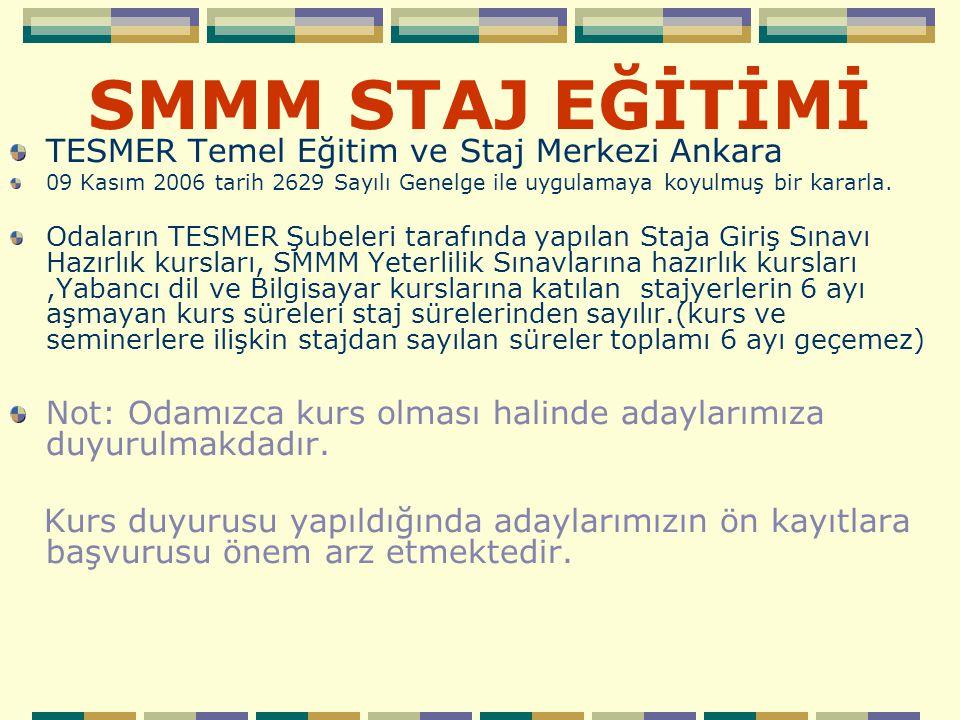 SMMM STAJ EĞİTİMİ TESMER Temel Eğitim ve Staj Merkezi Ankara