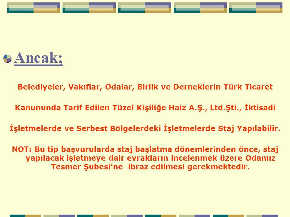 Ancak; Belediyeler, Vakıflar, Odalar, Birlik ve Derneklerin Türk Ticaret. Kanununda Tarif Edilen Tüzel Kişiliğe Haiz A.Ş., Ltd.Şti., İktisadi.