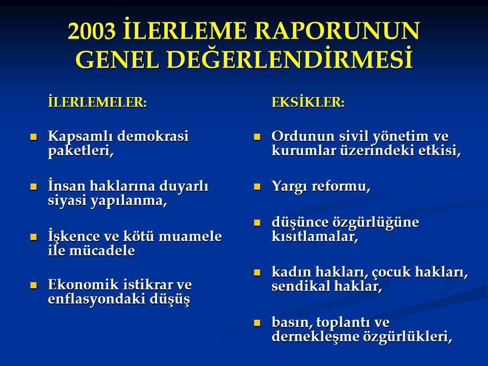 2003 İLERLEME RAPORUNUN GENEL DEĞERLENDİRMESİ