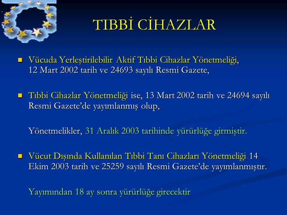 TIBBİ CİHAZLAR Vücuda Yerleştirilebilir Aktif Tıbbi Cihazlar Yönetmeliği, 12 Mart 2002 tarih ve 24693 sayılı Resmi Gazete,