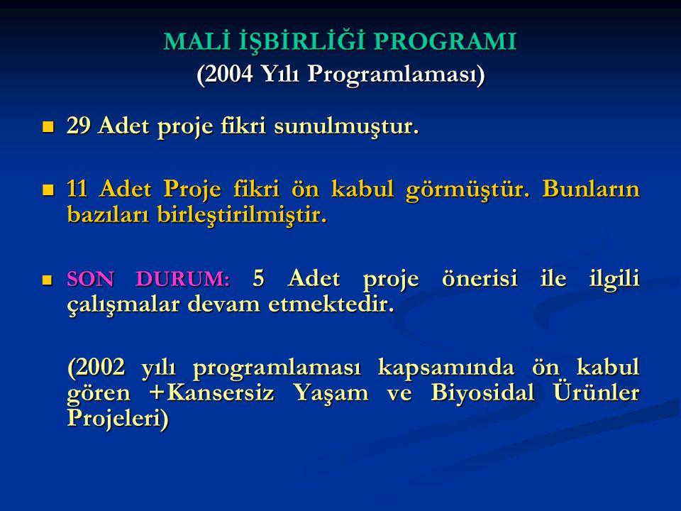 MALİ İŞBİRLİĞİ PROGRAMI (2004 Yılı Programlaması)