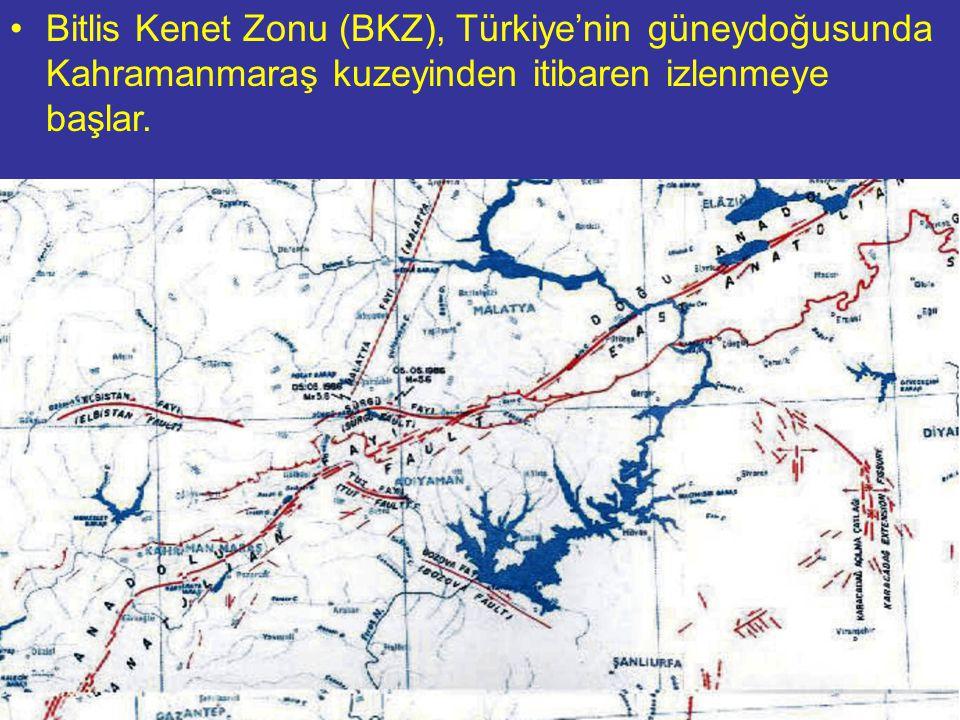 Bitlis Kenet Zonu (BKZ), Türkiye'nin güneydoğusunda Kahramanmaraş kuzeyinden itibaren izlenmeye başlar.