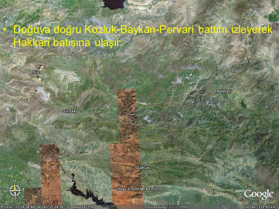 Doç.Dr. Yaşar EREN Doğuya doğru Kozluk-Baykan-Pervari hattını izleyerek Hakkari batısına ulaşır.