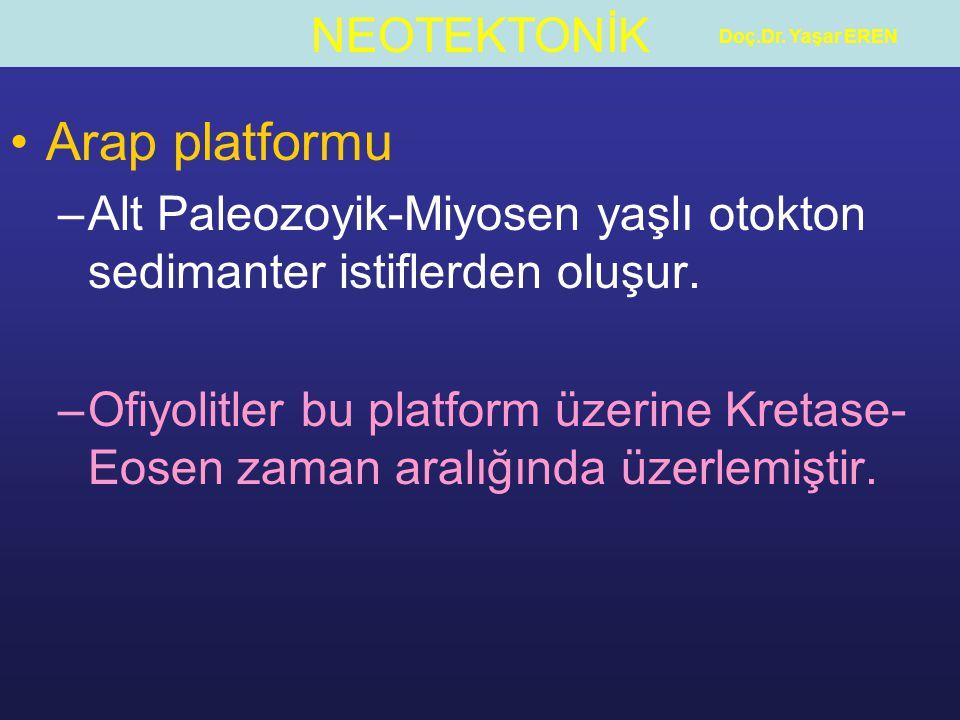 Doç.Dr. Yaşar EREN Arap platformu. Alt Paleozoyik-Miyosen yaşlı otokton sedimanter istiflerden oluşur.