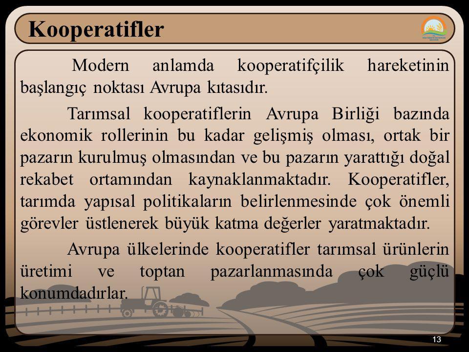 Kooperatifler Modern anlamda kooperatifçilik hareketinin başlangıç noktası Avrupa kıtasıdır.
