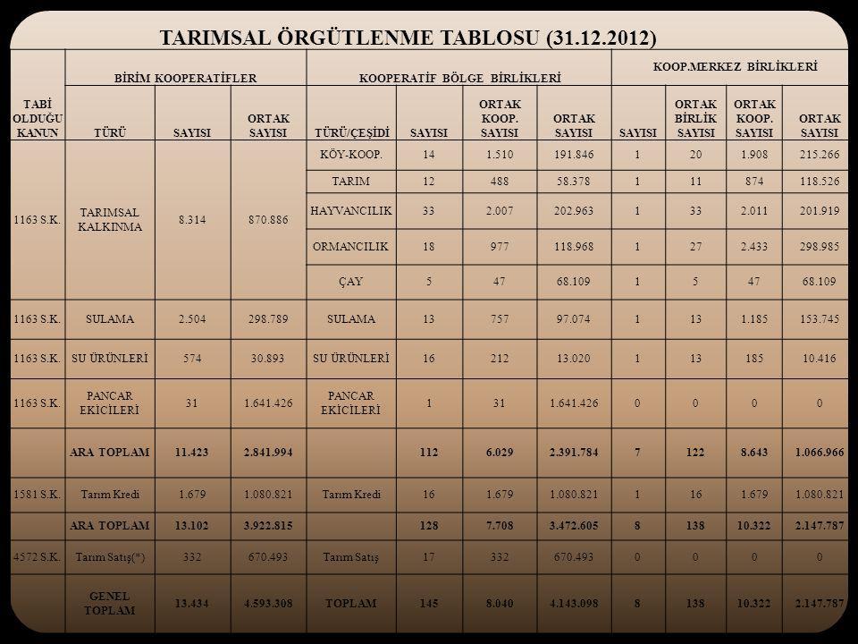 TARIMSAL ÖRGÜTLENME TABLOSU (31.12.2012)