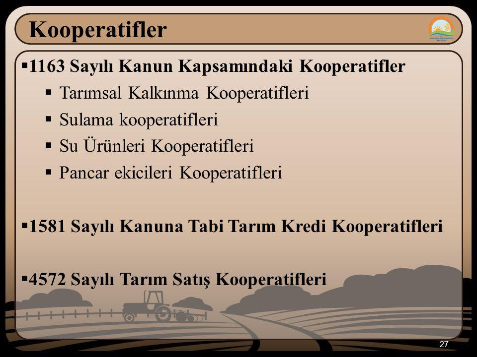 Kooperatifler 1163 Sayılı Kanun Kapsamındaki Kooperatifler