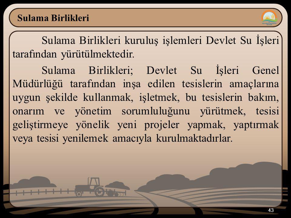 Sulama Birlikleri Sulama Birlikleri kuruluş işlemleri Devlet Su İşleri tarafından yürütülmektedir.