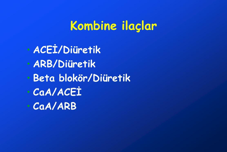 Kombine ilaçlar ACEİ/Diüretik ARB/Diüretik Beta blokör/Diüretik
