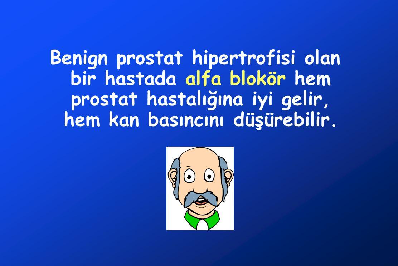 Benign prostat hipertrofisi olan bir hastada alfa blokör hem prostat hastalığına iyi gelir, hem kan basıncını düşürebilir.