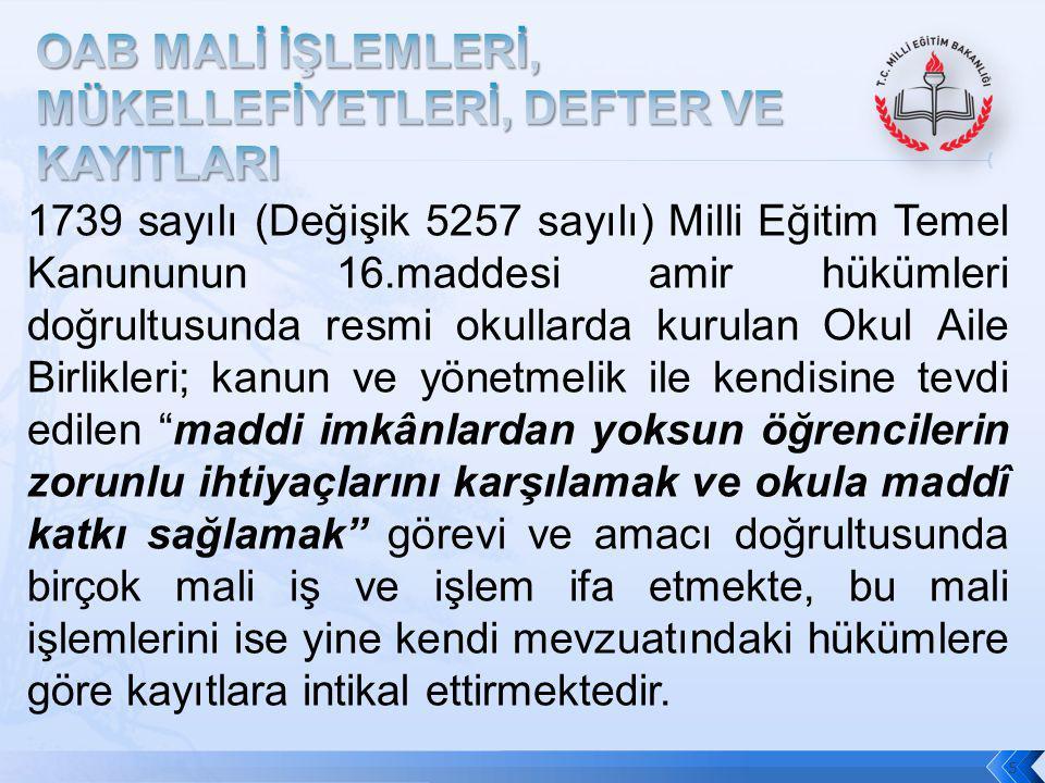 OAB MALİ İŞLEMLERİ, MÜKELLEFİYETLERİ, DEFTER VE KAYITLARI