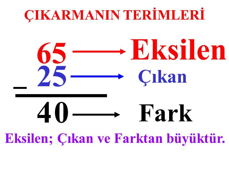 Eksilen 65 25 4 Fark Çıkan ÇIKARMANIN TERİMLERİ