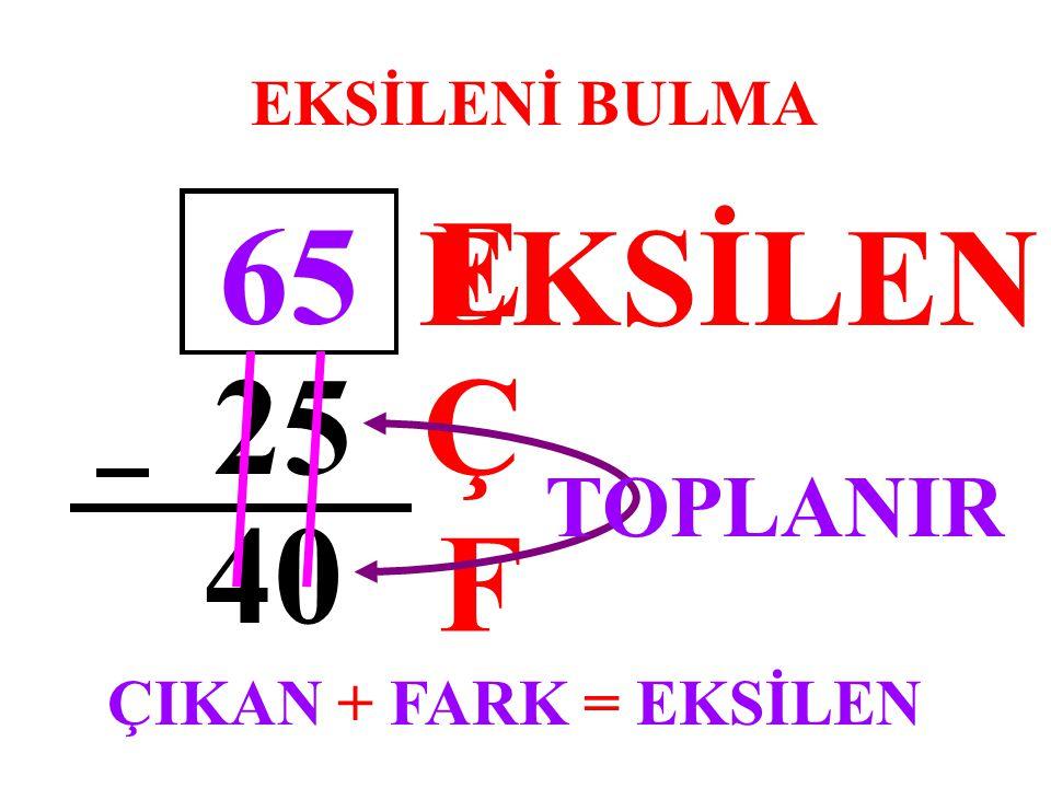 E EKSİLEN 65 25 Ç 40 F TOPLANIR EKSİLENİ BULMA