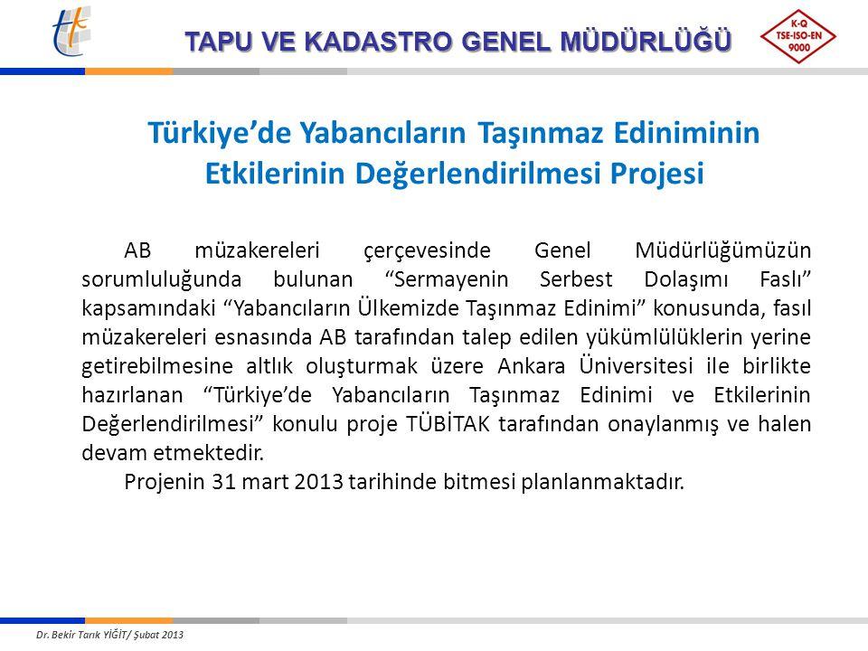 Türkiye'de Yabancıların Taşınmaz Ediniminin Etkilerinin Değerlendirilmesi Projesi