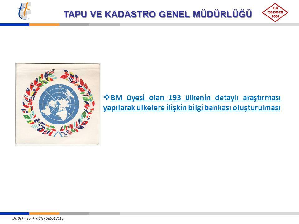 BM üyesi olan 193 ülkenin detaylı araştırması yapılarak ülkelere ilişkin bilgi bankası oluşturulması