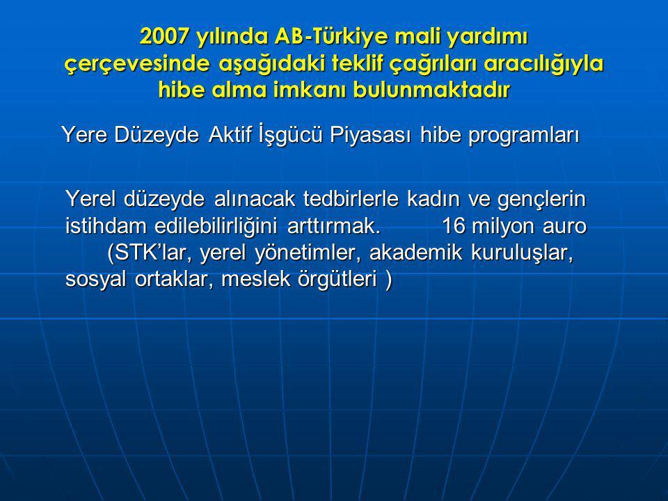 2007 yılında AB-Türkiye mali yardımı çerçevesinde aşağıdaki teklif çağrıları aracılığıyla hibe alma imkanı bulunmaktadır